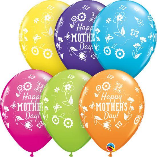 BALÃO DE LÁTEX SORTIDO MOTHER'S DAY SPRINGTIME FLORAL 11 POLEGADAS PC 50 -  QUALATEX #12410