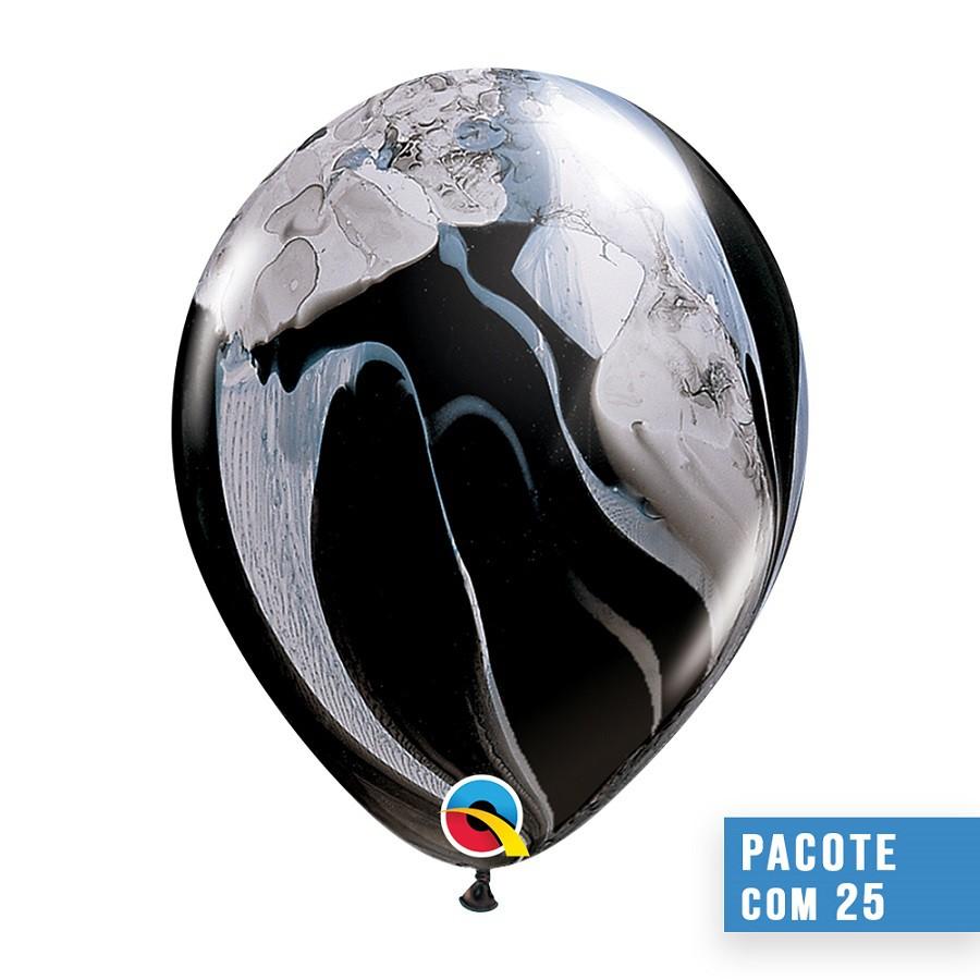 BALÃO DE LÁTEX SUPERAGATE PRETO E BRANCO 11 POLEGADAS - PC 25UN - QUALATEX #39921
