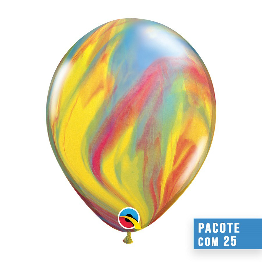BALÃO DE LÁTEX SUPERAGATE TRADICIONAL 11 POLEGADAS - PC 25UN - QUALATEX #39922