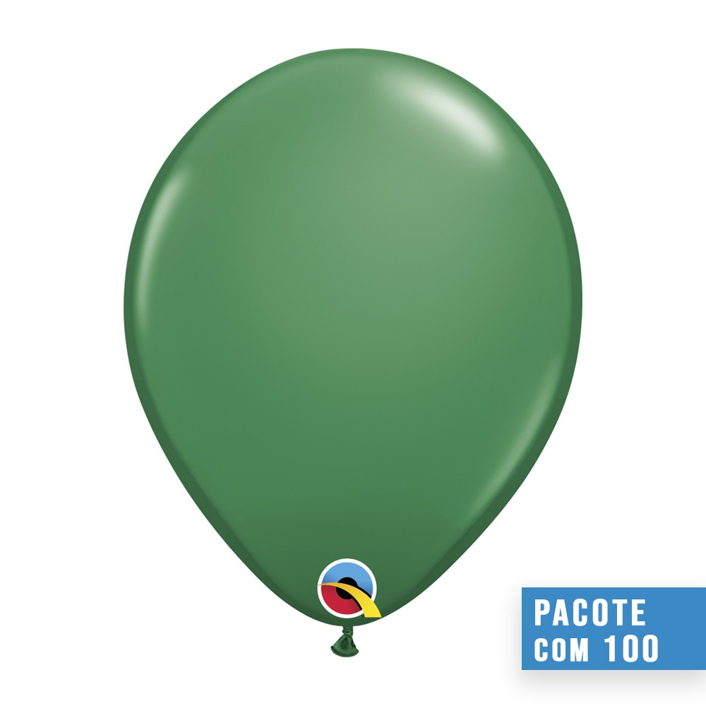 BALÃO DE LÁTEX VERDE 11 POLEGADAS - PC 100UN - QUALATEX #43750