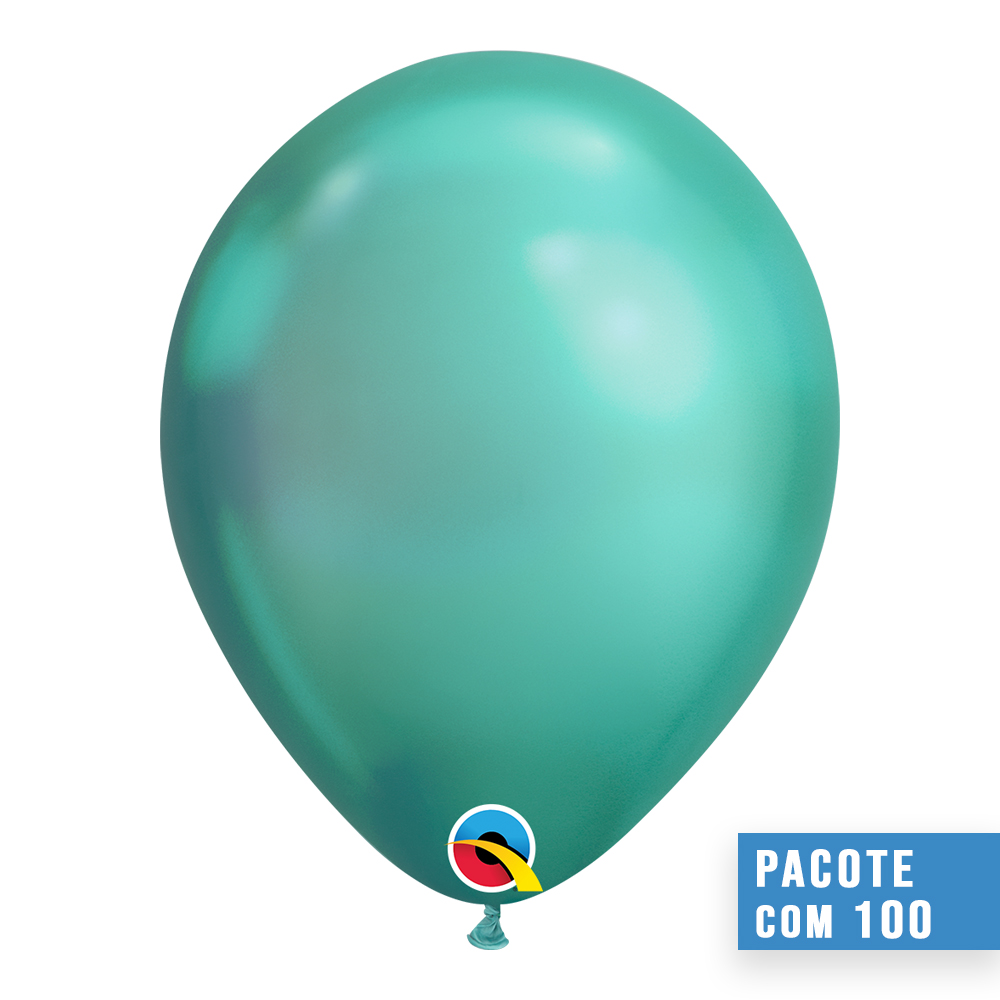 BALÃO DE LÁTEX VERDE CHROME 7 POLEGADAS - PC 100UN - QUALATEX #85142