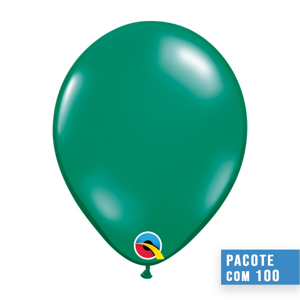 BALÃO DE LÁTEX VERDE ESMERALDA 9 POLEGADAS - PC 100UN - QUALATEX #43681