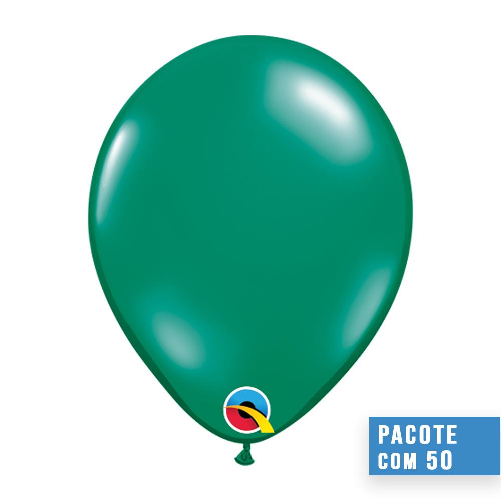 BALÃO DE LÁTEX VERDE ESMERALDA JOIA 16 POLEGADAS - PC 50UN - QUALATEX #43863