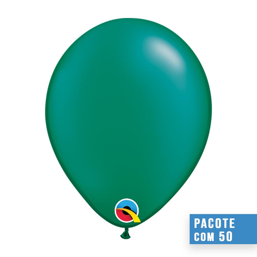 BALÃO DE LÁTEX VERDE ESMERALDA PEROLADO 16 POLEGADAS - PC 50UN - QUALATEX #87175