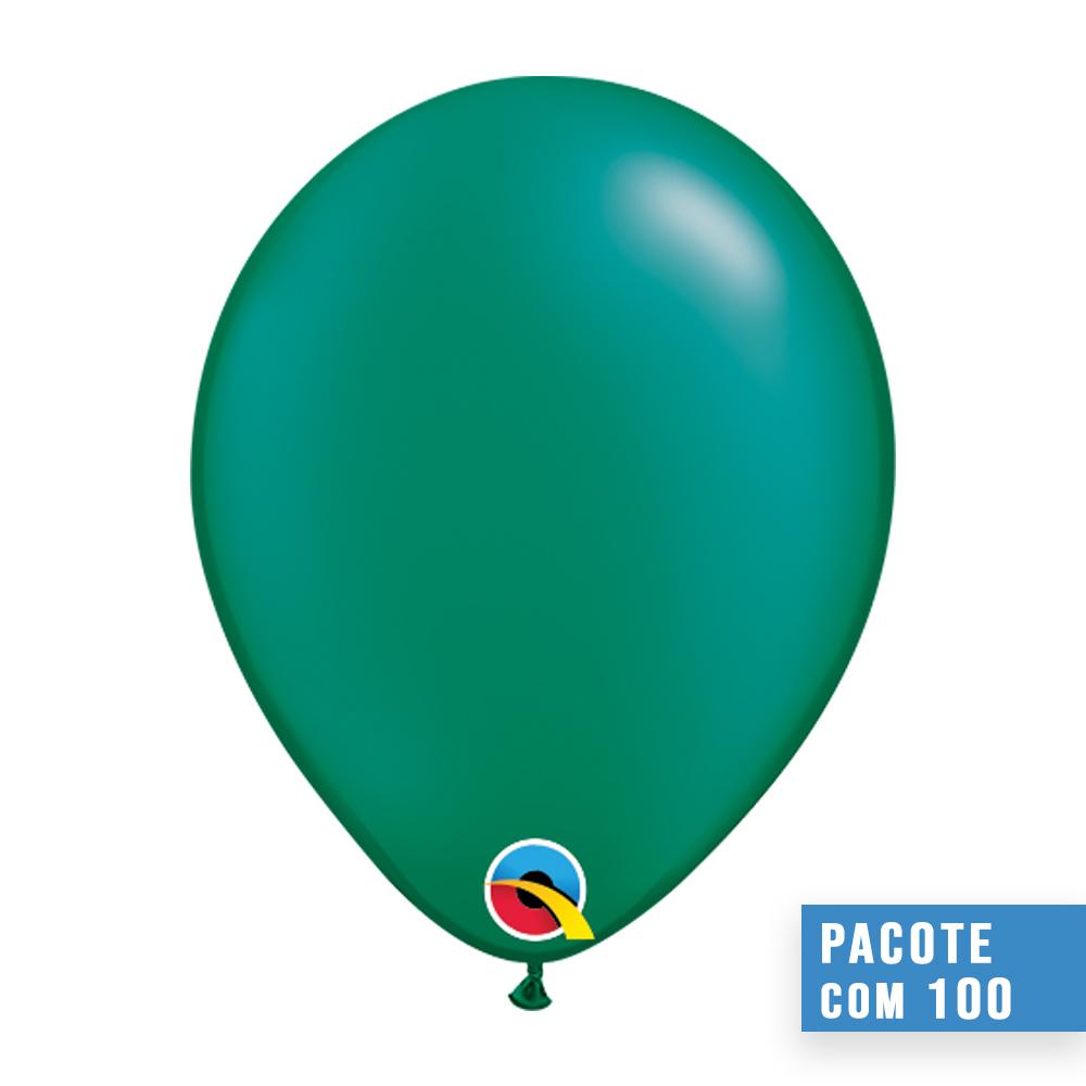 BALÃO DE LÁTEX VERDE ESMERALDA PEROLADO 5 POLEGADAS - PC 100UN - QUALATEX #43581