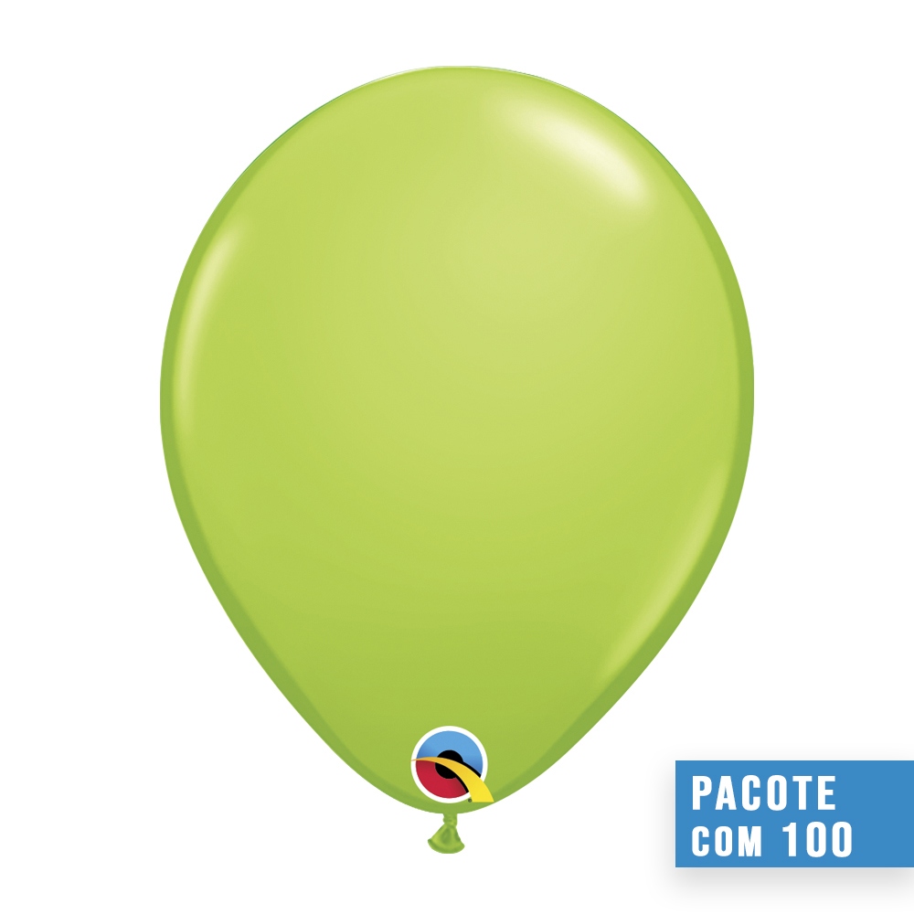 BALÃO DE LÁTEX VERDE LIMA 11 POLEGADAS - PC 100UN - QUALATEX #48955