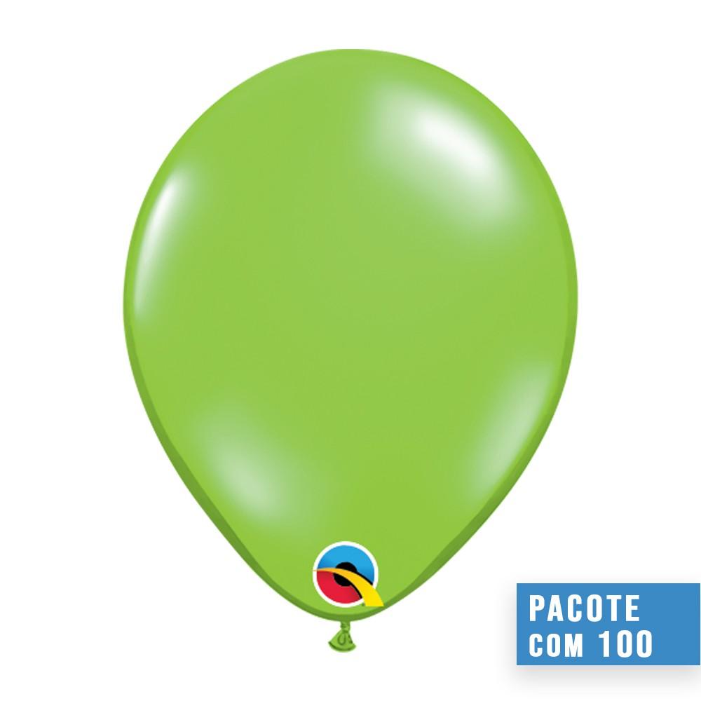 BALÃO DE LÁTEX VERDE LIMA JOIA 11 POLEGADAS - PC 100UN - QUALATEX #78194