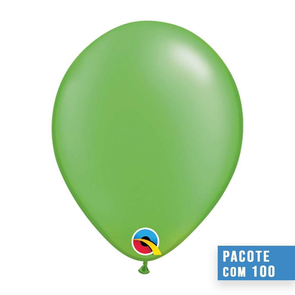 BALÃO DE LÁTEX VERDE LIMA PEROLADO 5 POLEGADAS - PC 100UN - QUALATEX #49956