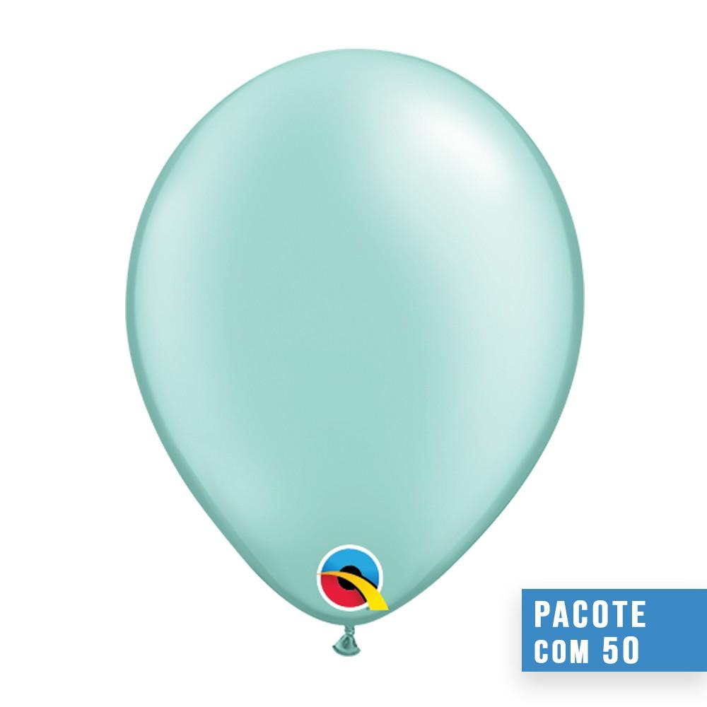 BALÃO DE LÁTEX VERDE MENTA PEROLADO 16 POLEGADAS - PC 50UN - QUALATEX #43891