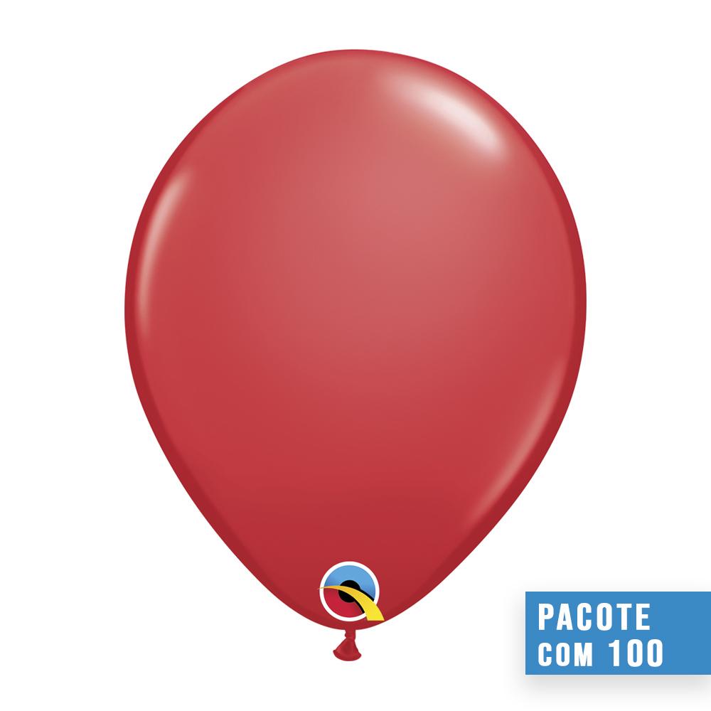 BALÃO DE LÁTEX VERMELHO 9 POLEGADAS - PC 100UN - QUALATEX #43703
