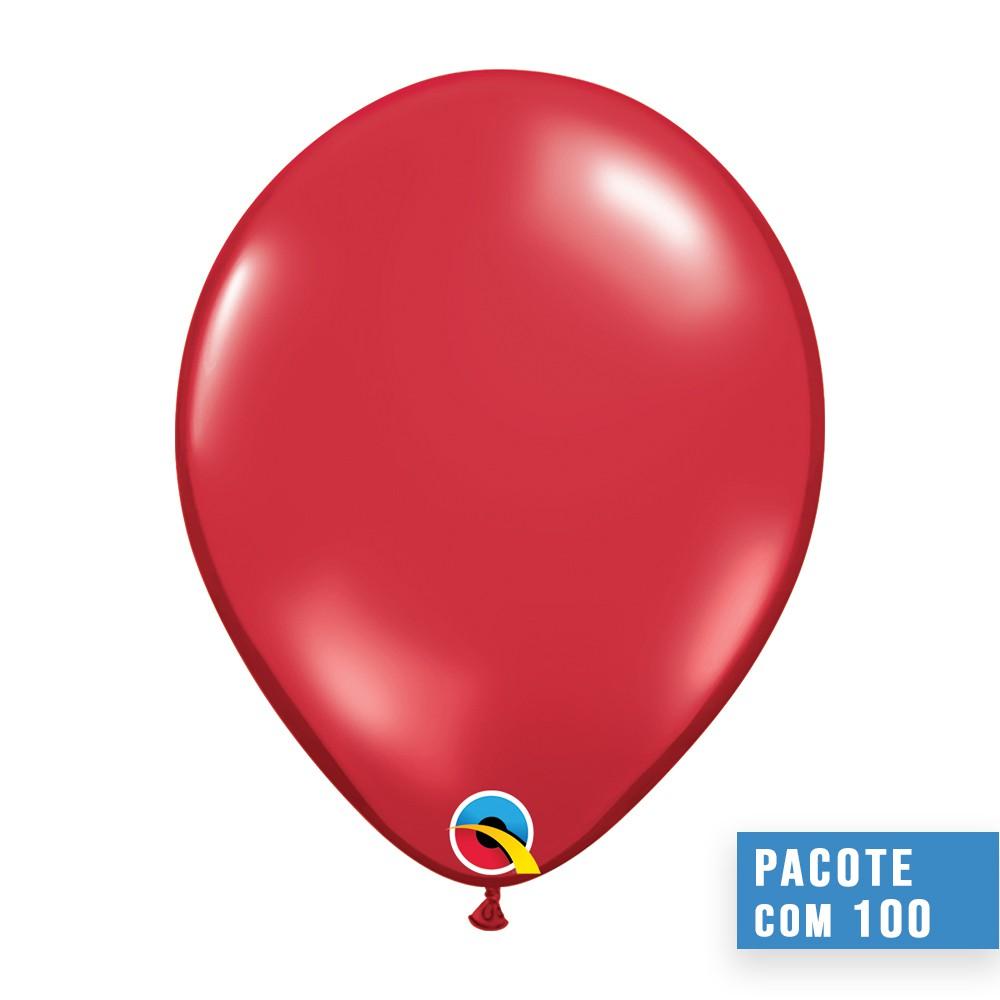 BALÃO DE LÁTEX VERMELHO RUBI 9 POLEGADAS - PC 100UN - QUALATEX #43705