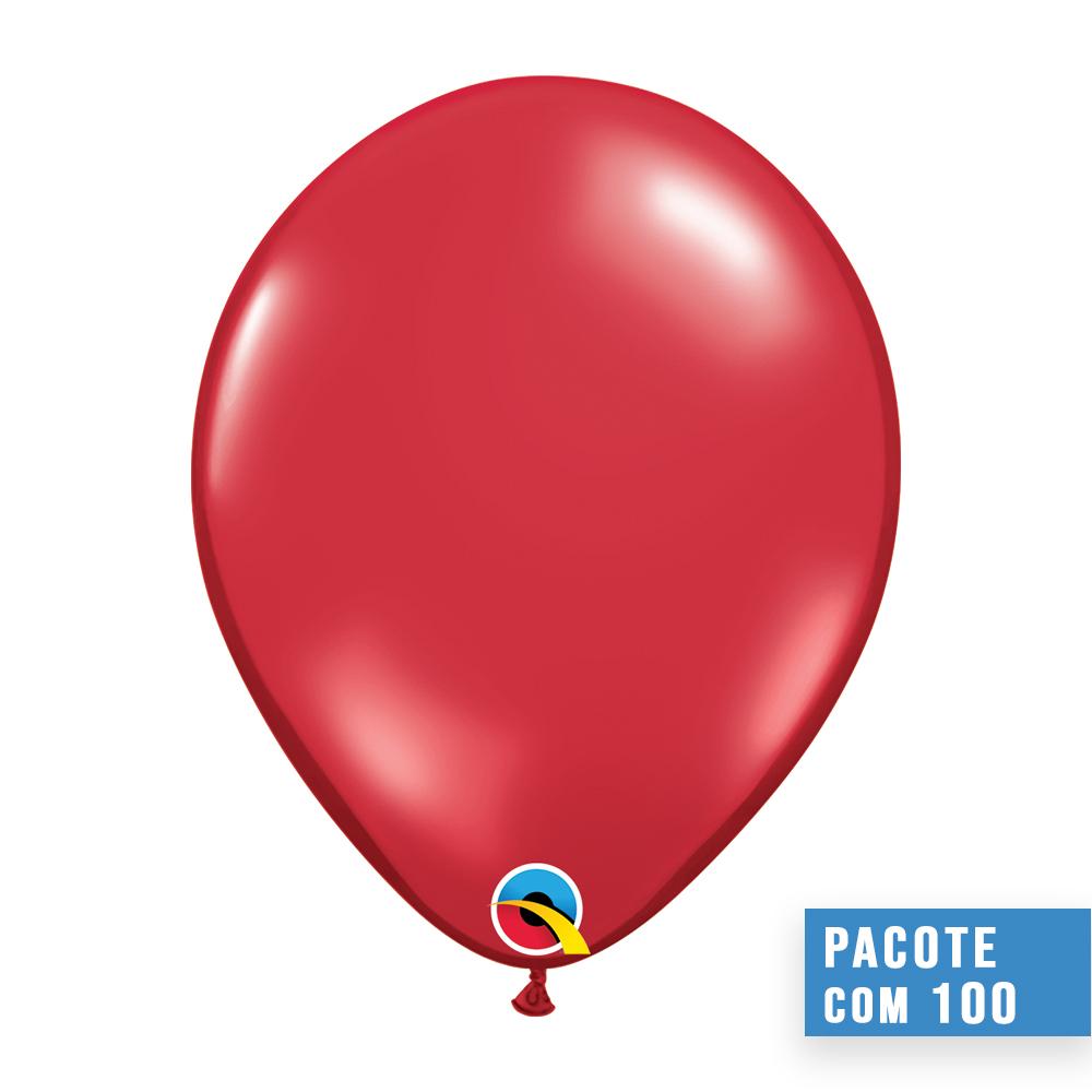 BALÃO DE LÁTEX VERMELHO RUBI JOIA 11 POLEGADAS - PC 100UN - QUALATEX #43792