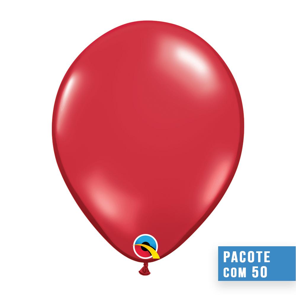 BALÃO DE LÁTEX VERMELHO RUBI JOIA 16 POLEGADAS - PC 50UN - QUALATEX #43899
