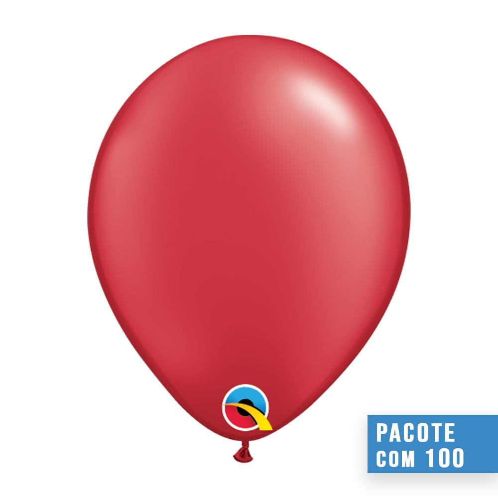 BALÃO DE LÁTEX VERMELHO RUBI PEROLADO 5 POLEGADAS - PC 100UN - QUALATEX #43594