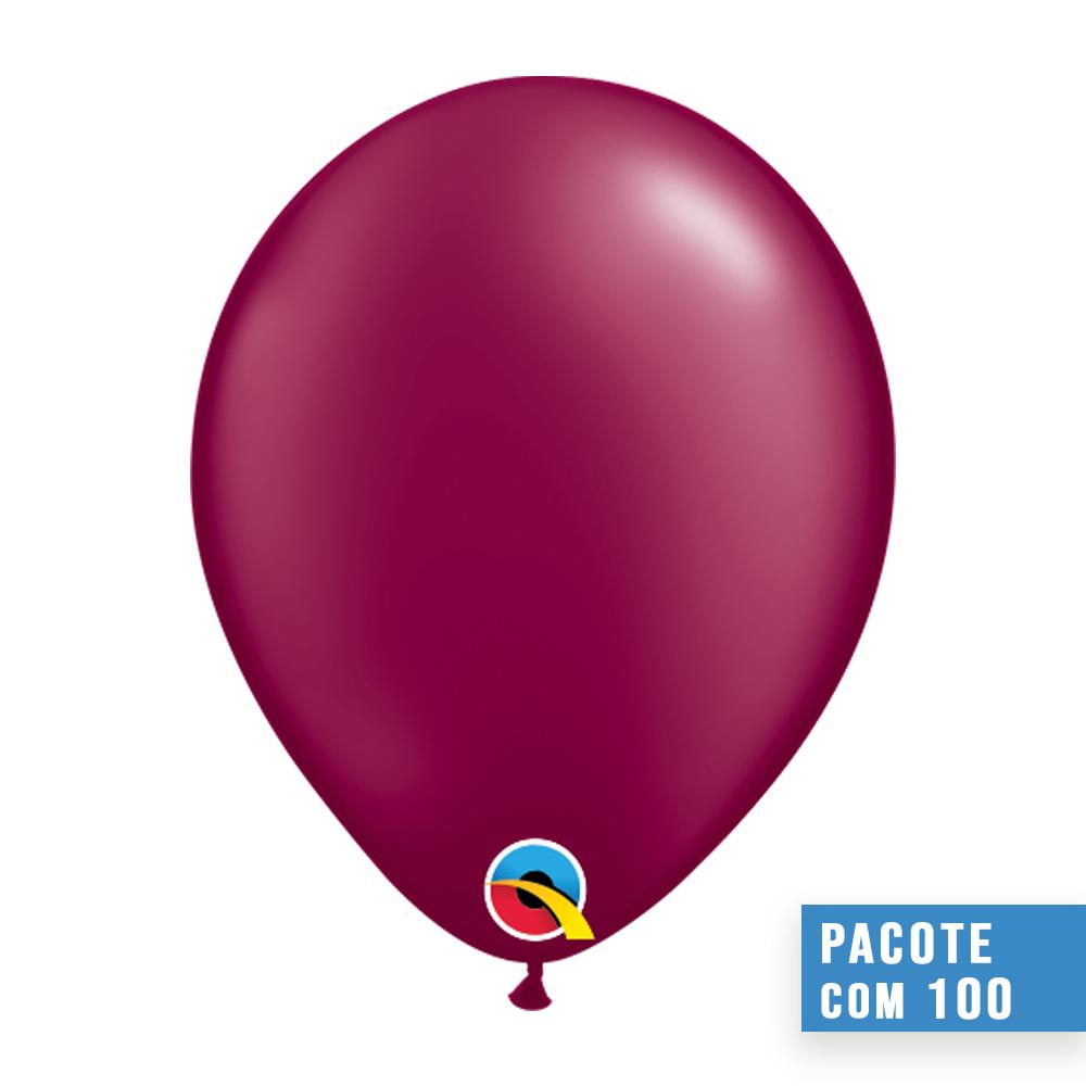 BALÃO DE LÁTEX VINHO PEROLADO 5 POLEGADAS - PC 100UN - QUALATEX #43578