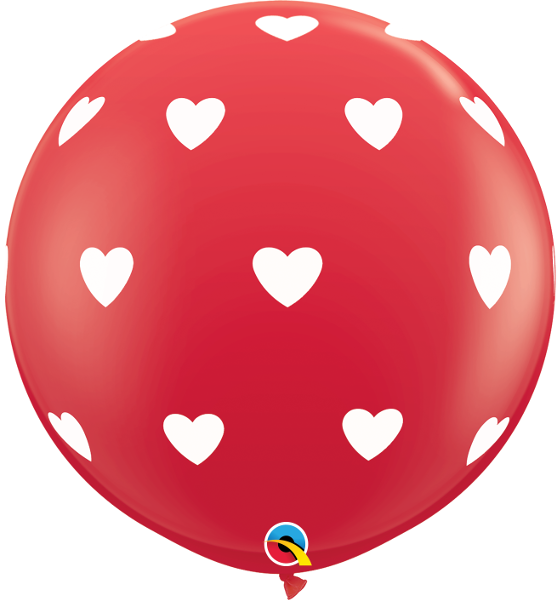 BALÃO LÁTEX BIG HEARTS-A-RND (WHT) 3 PÉS - PC 2UN - QUALATEX #31089