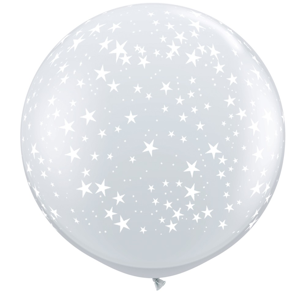 BALÃO LÁTEX CRISTAL TRANSPARENTE STARS-A-RND 3 PÉS - PC 2UN - QUALATEX #29264