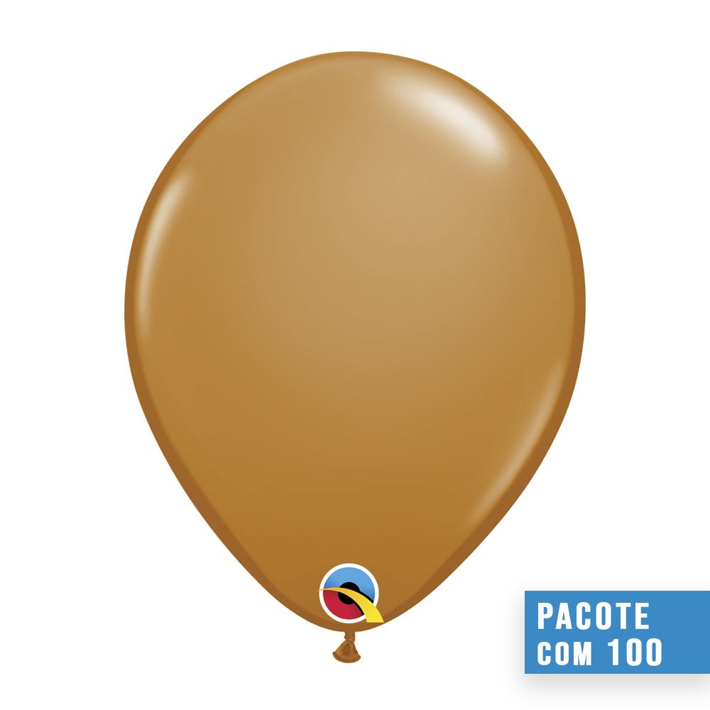 BALÃO MARROM MOCHA 11 POLEGADAS PC 100UN QUALATEX #99379