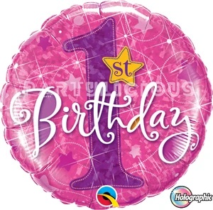 BALÃO METALIZADO 18 POLEGADAS 1ST BDAY STAR PINK QUALATEX #41597