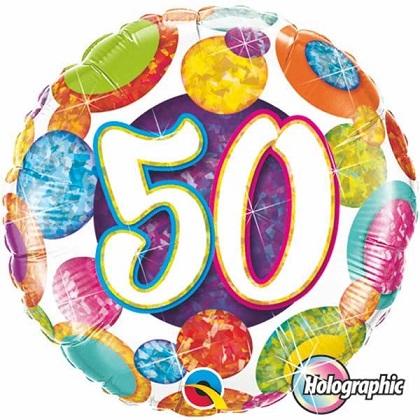 BALÃO METALIZADO 18 POLEGADAS 50 DOTS & GLITER HOLOGRAFICO QUALATEX #37905
