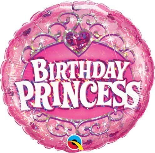 BALÃO METALIZADO 18 POLEGADAS BIRTHDAY PRINCESS HOLOGRÁFICO QUALATEX #34805