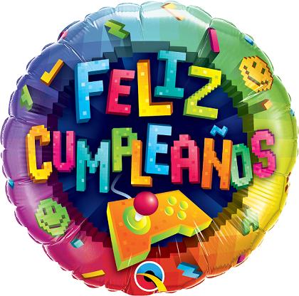BALÃO METALIZADO 18 POLEGADAS FELIZ CUMPLEANOS VIDEO GAME- QUALATEX #57283