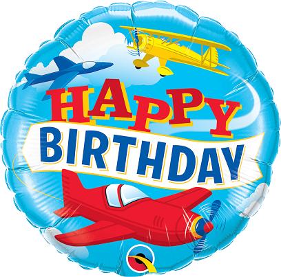 BALÃO METALIZADO 18 POLEGADAS HAPPY BIRTHDAY AIRPLANES - QUALATEX #57796