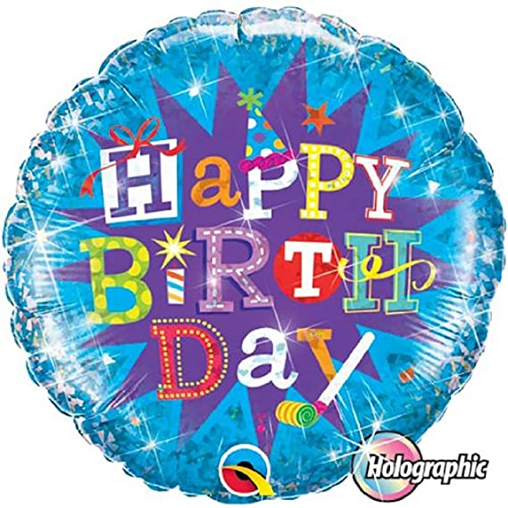 BALÃO METALIZADO 18 POLEGADAS HAPPY BIRTHDAY HOLOGRAFICO QUALATEX #35353
