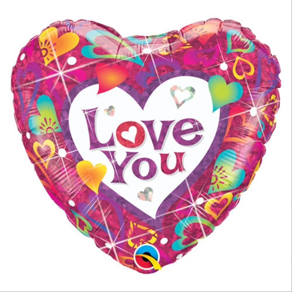 BALÃO METALIZADO 18 POLEGADAS LOVE YOU VIBRANT HEARTS QUALATEX #40112