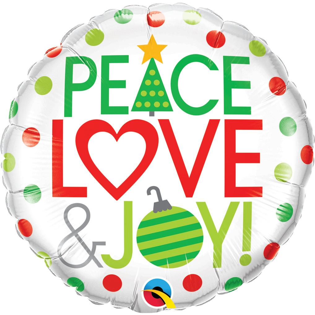 BALÃO METALIZADO 18 POLEGADAS PEACE LOVE & JOY  QUALATEX #52099