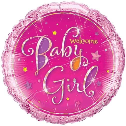 BALÃO METALIZADO 18 POLEGADAS WELCOME BABY GIRL HOLOGRAFICO QUALATEX #35314