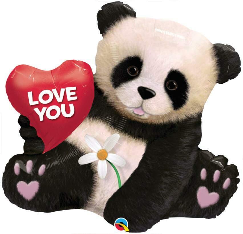 BALAO METALIZADO 34 POLEGADAS LOVE YOU PANDA BEAR QUALATEX #27435