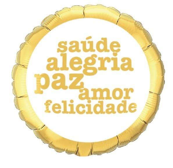 BALÃO METALIZADO BRACO E DOURADO SAUDE PAZ ALEGRIA   - QUALATEX #50244C
