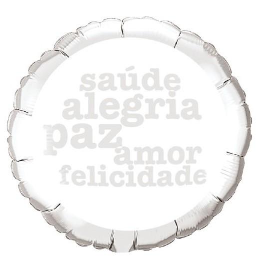 BALÃO METALIZADO BRANCO E PRATA SAUDE PAZ ALEGRIA   - QUALATEX #50244B