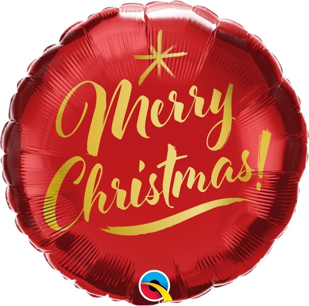 BALÃO METALIZADO CHRISTMAS!-SCRIPT DE OURO - 18 POLEGADAS - QUALATEX #89844
