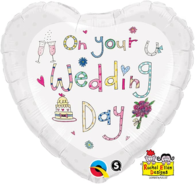 BALÃO METALIZADO CORACAO 18 POLEGADAS RE ON YOUR WEDDING DAY - QUALATEX #51679