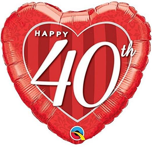 BALÃO METALIZADO CORAÇÃO - HAPPY 40TH DAMASK HEART - 18 POLEGADAS - QUALATEX #49115