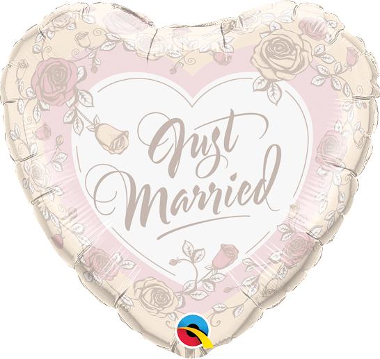BALÃO METALIZADO CORAÇÃO - JUST MARRIED ROSES 18 POLEGADAS - QUALATEX #31082