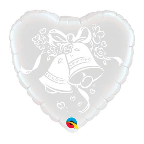 BALÃO METALIZADO CORAÇÃO - WEDDING BELLS - 18 POLEGADAS - QUALATEX #63786