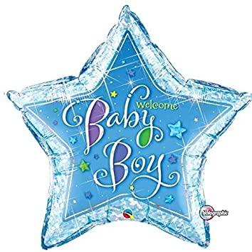 BALÃO METALIZADO ESTRELA WELCOME BABY BOY STARS - 36 POLEGADAS - QUALATEX #16614