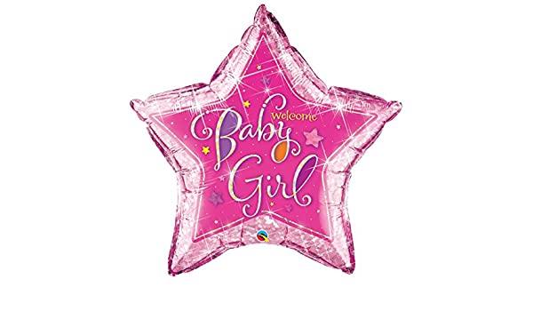 BALÃO METALIZADO ESTRELA WELCOME BABY GIRL STARS - 36 POLEGADAS - QUALATEX #16577