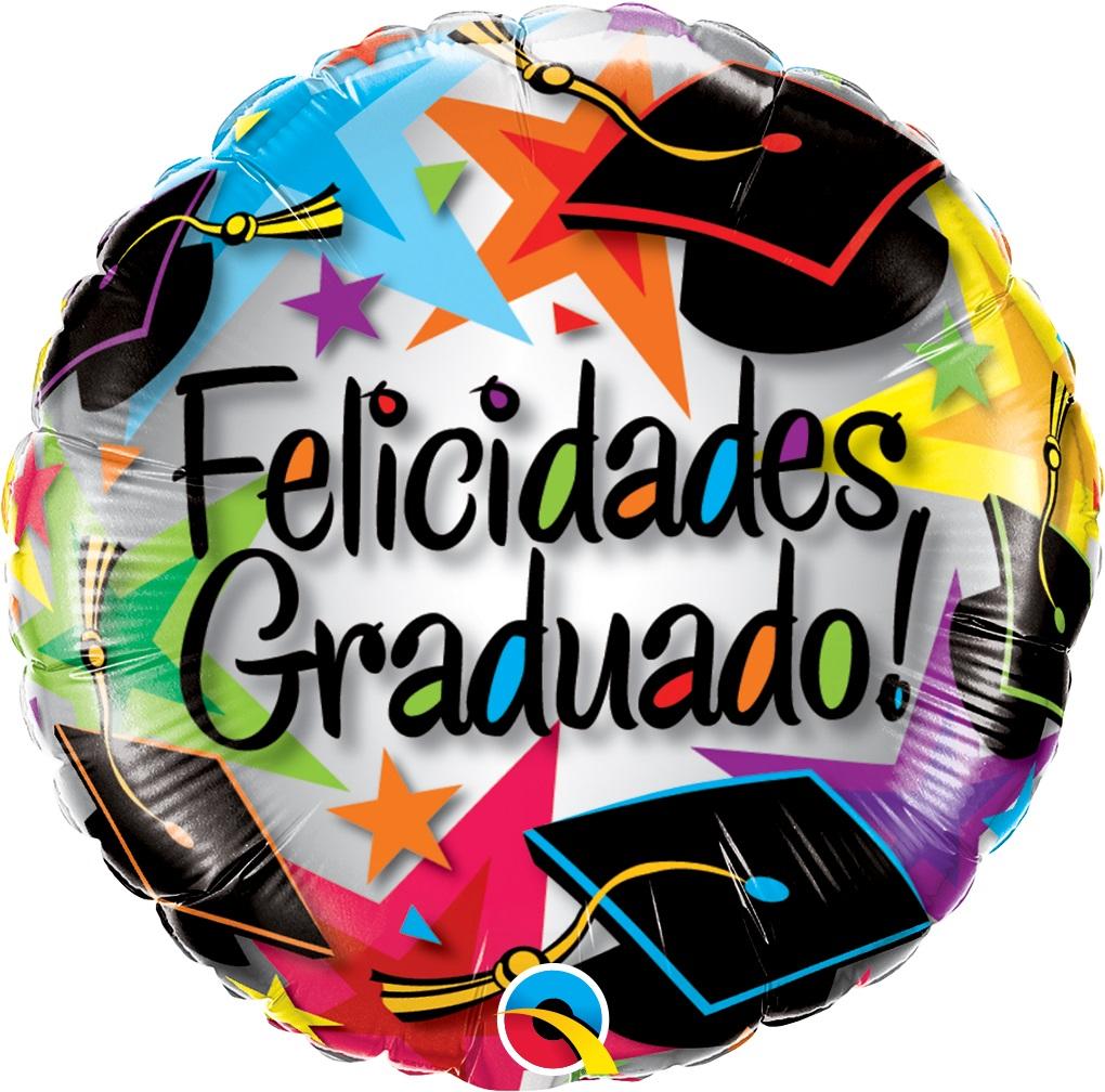 BALAO METALIZADO FELICIDADES GRADUADO! STARS - 18 POLEGADAS - QUALATEX #14555