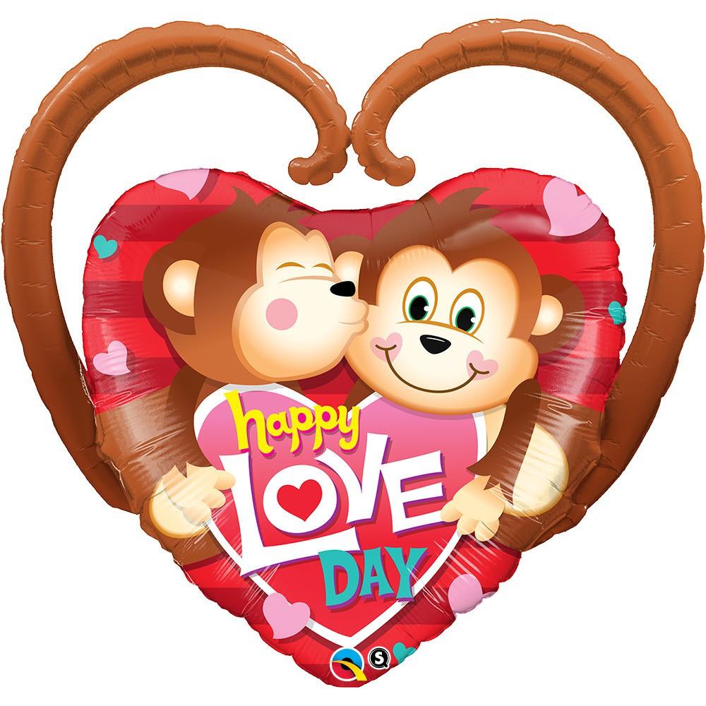 BALÃO METALIZADO HAPPY LOVE DAY MONKEYS  - 39 POLEGADAS - QUALATEX #21839