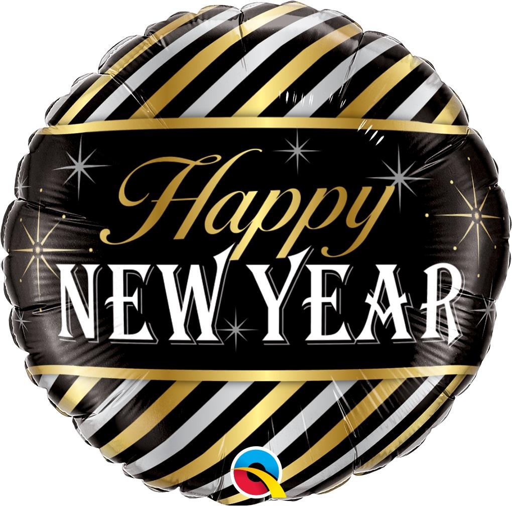 BALAO METALIZADO HAPPY NEW YEAR LISTRA DIAGONAL - 18 POLEGADAS - QUALATEX #43523