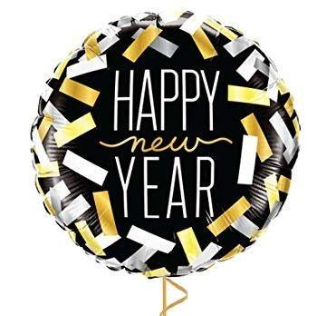 BALAO METALIZADO HAPPY NEW YEAR TIRAS CONFETTI - 18 POLEGADAS QUALATEX #43531