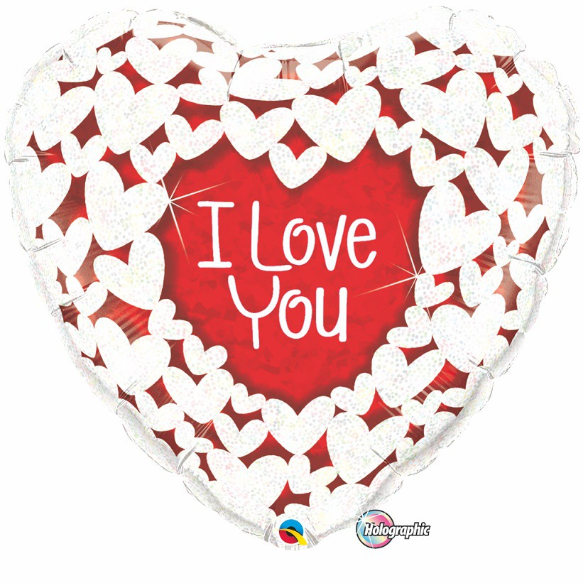BALÃO METALIZADO - I LOVE YOU GLITTER HEARTS - 30 POLEGADAS - QUALATEX #16512