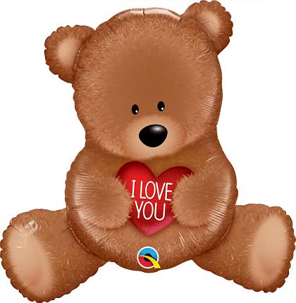 BALÃO METALIZADO - I LOVE YOU TEDDY BEAR - 35 POLEGADAS - QUALATEX #98705