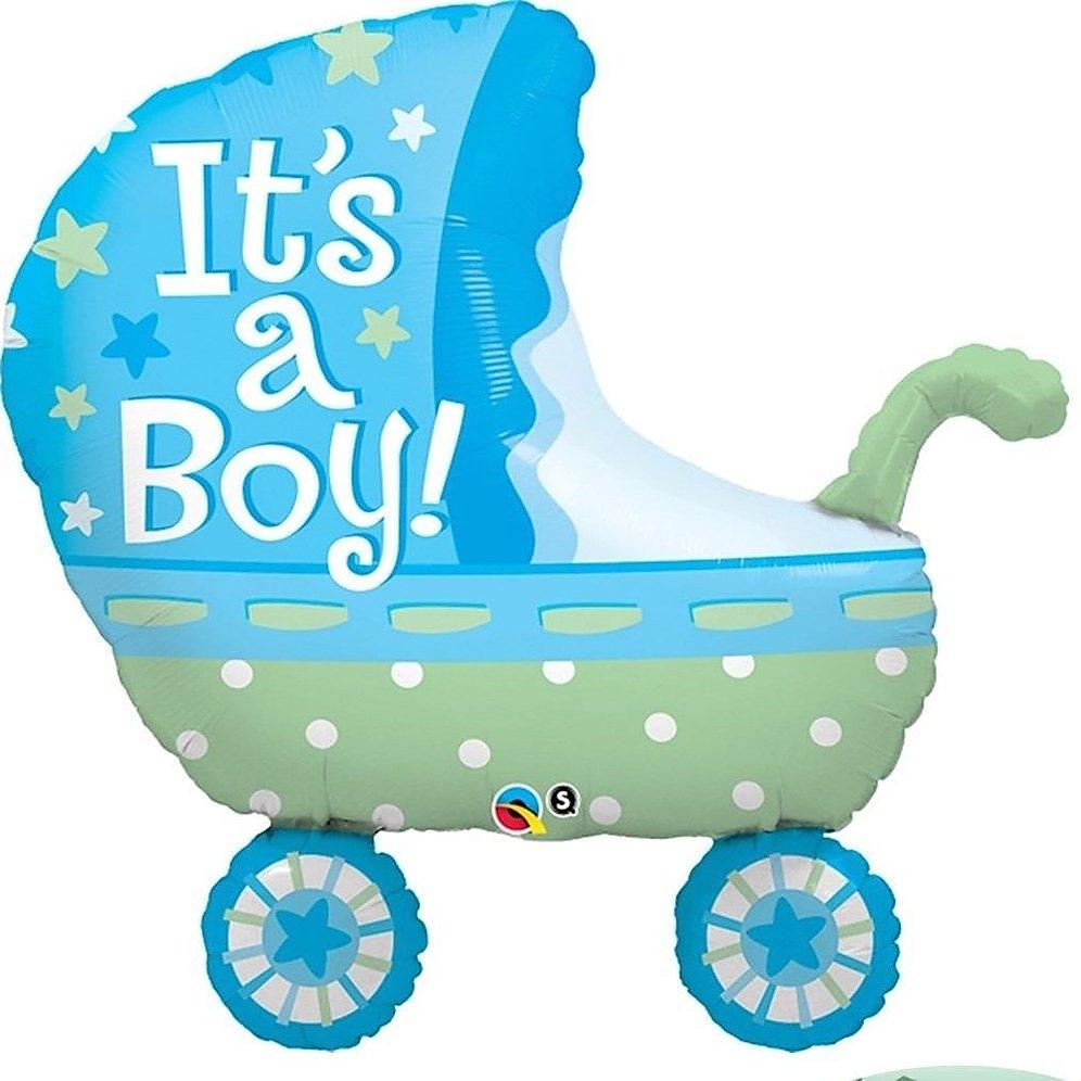 BALÃO METALIZADO - IT'S A BOY BABY STROLLER - 35 POLEGADAS - QUALATEX #43285