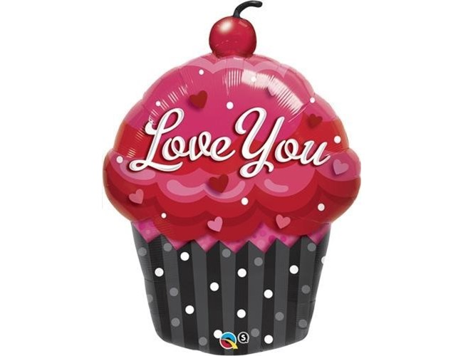 BALÃO METALIZADO LOVE YOU CUPCAKE - 35 POLEGADAS - QUALATEX #16352