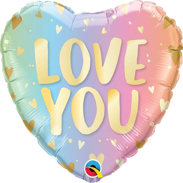 BALÃO METALIZADO LOVE YOU PASTEL OMBRÉ - 18 POLEGADAS - QUALATEX #97433